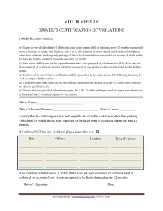 Certificate of violation dot safety plus for Motor vehicle driving record